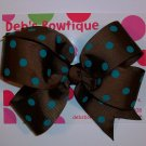 Brown w/Teal Dots Large Boutique Bow