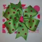 Green w/Pink Dots Large Boutique Bow