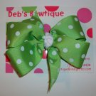 Green w/White Dots Large Boutique Bow