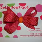 Pink w/Orange Dots Medium Boutique Bow