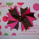 Brown & Pink Twist Bow