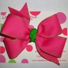 Hot Pink w/Green Stitch Large Boutique Bow