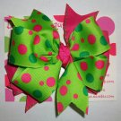 Hot Pink & Green Apple Dot Boutique Bow