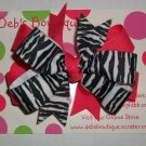 Hot  Pink & Zebra Large Boutique Bow