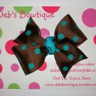 Brown w/Teal Dots Medium Boutique Bow