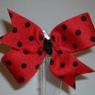 Red w/Black Dots Medium Boutique Bow