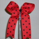 Red w/Black Dots Cheer Bow