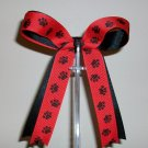 Black & Red w/Paw Print Cheer Bow