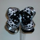 Black w/White Dots Cheer Loopy Boutique Bow