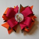 Personalized Brown Owl Bottle Cap Bow