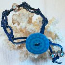 Blue Suede Leather Bracelet.  Check Our Store twodotts.ecrater.com