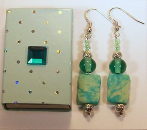 Aqua Beaded Ear Rings.  Check Our Store twodotts.ecrater.com
