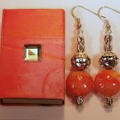 1 Pair Orange beaded Ear Rings.  Check Our Store twodotts.ecrater.com