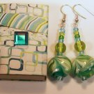 1 Pair Teal & Green Beaded Ear Rings.  Check Our Store twodotts.ecrater.com