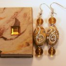 1 Pair Amber Color Beaded Ear Rings.  Check Our Store twodotts.ecrater.com