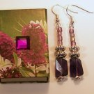1 Pair of Purple Beaded Ear Rings.  Check Our Store twodotts.ecrater.com