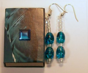 1 Pair Deep Blue Beaded Ear Rings.  Check Our Store twodotts.ecrater.com