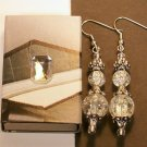 1 Pair  Clear Glass Beaded Ear Rings.  Check Our Store twodotts.ecrater.com