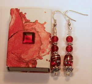 1 Pair Red Beaded Ear Rings.  Check Our Store twodotts.ecrater.com