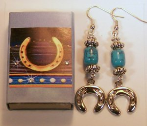 1 Pair Horseshoe Ear Rings.  Check Our Store twodotts.ecrater.com