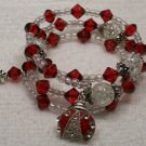 RED beaded Memory Wire Bracelet with LADY BUG CHARM. Visit Our Store twodotts.ecrater.com