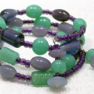 Lavender, Green & Purple Memory Wire bracelet Visit Our Store twodotts.ecrater.com