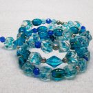 Sea Blue beaded Memory Wire Bracelet.. Visit our store twodotts.ecrater.com