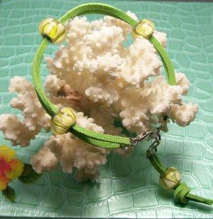 Lime Green Ankle Bracelet, Visit our store twodotts.ecrater.com