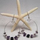 Purple beaded hoop ear rings.  Visit Our Store twodotts.ecrater.com