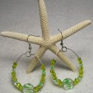 Lime Green Beaded Hoop ear rings.  Visit Our Store twodotts.ecrater.com