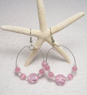 Pale Pink Beaded Wire Hoop ear rings Visit our store twodotts.ecrater.com