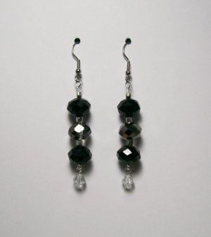Jet Black & Smoke color beaded Ear Rings