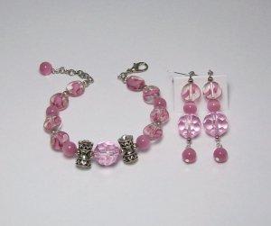 Pale Pink & Silver Bracelet & Ear Ring Set
