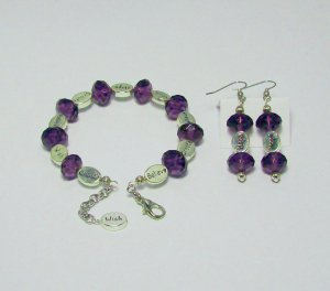 Purple & Silver color Bracelet & Ear Ring Set.