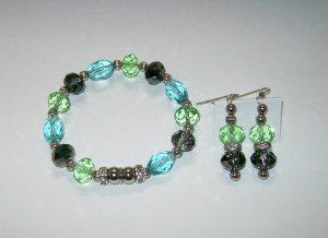 Multi-color Magnetic Bracelet & Ear Ring Set.