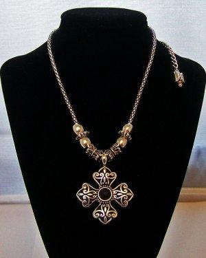 Silver tone & Black  cross necklace.