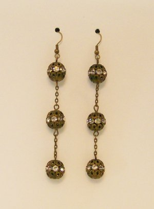 Antique Brass & Rhinestone fashion ear rings