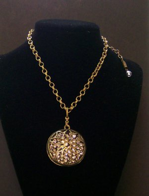 Antique Brass Fashion  necklace with pendant.