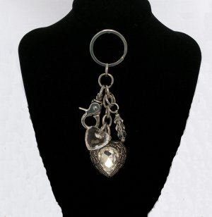 Key Chain with HEART CHARM.  Check our store twodotts.ecrater.com