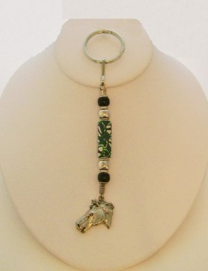 Key Chain with HORSE HEAD CHARM.  Check our store twodotts.ecrater.com