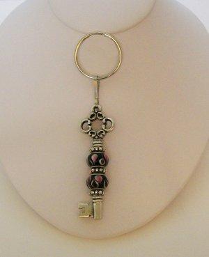 Key Chain with pink & black beaded KEY CHARM.