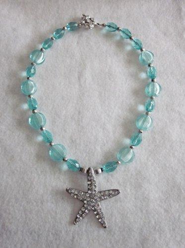 Aqua blue beaded necklace with STARFISH PENDANT.