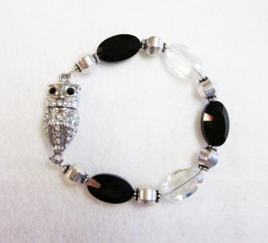 Black & Crystal beaded OWL bracelet