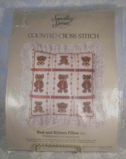 BEAR & RIBBON PILLOW COUNTED CROSS STITCH KIT *NEW* *SHIPS FREE*