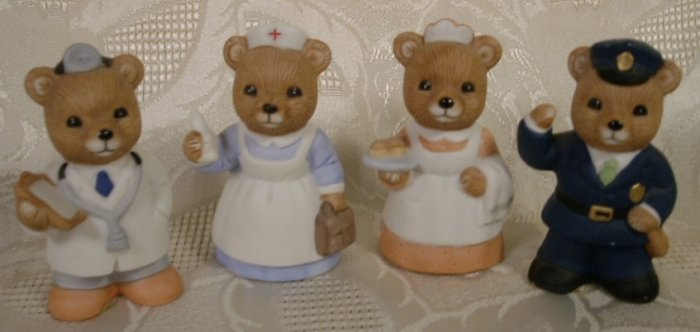 HOMCO BEAR FIGURINES OCCUPATIONAL #8805 - 4 PCS. *SHIPS FREE*