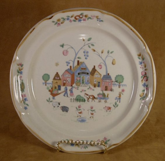 INTERNATIONAL CHINA HEARTLAND VILLAGE DINNER PLATES SET OF 4
