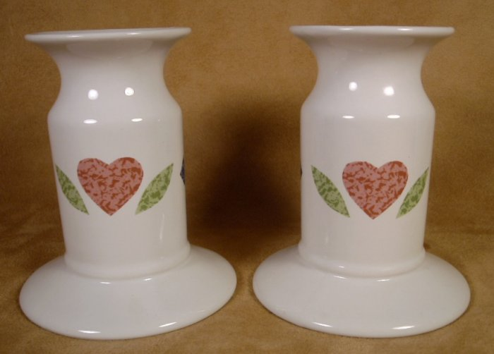 CORNING CORELLE QUILT PAIR OF CANDLE HOLDERS