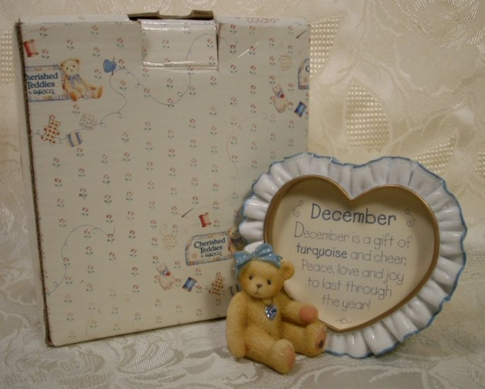 ENESCO CHERISHED TEDDIES DEC. BIRTHSTONE PHOTO FRAME *SHIPS FREE*