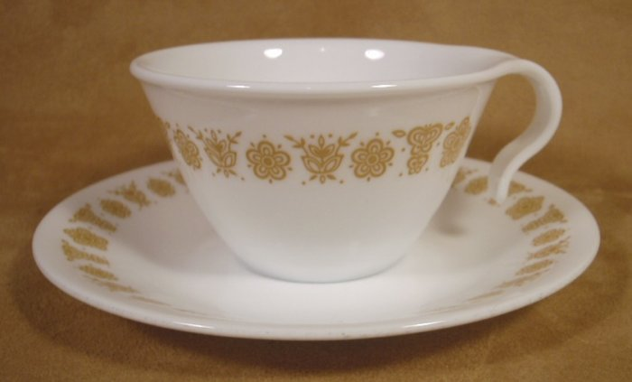 CORELLE GOLD BUTTERFLY HOOK HANDLED CUPS & SAUCERS