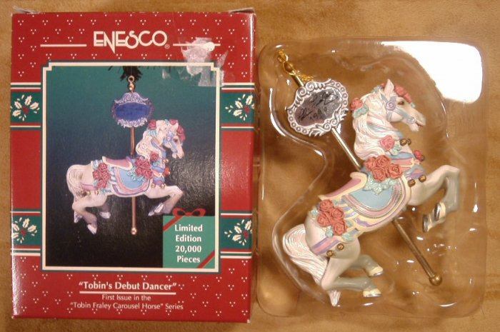 ENESCO TOBIN'S DEBUT DANCER L.E. ORNAMENT CAROUSEL HORSE 1996 *SHIPS FREE*